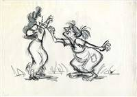 Original Production Drawing of Princess Eilonwy and Witch from Black Cauldron