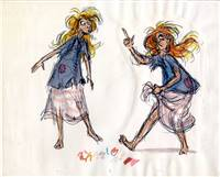 Original Model Drawing of Princess Eilonwy from Black Cauldron (1985)