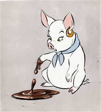Original Model Drawing of Hen Wen from Black Cauldron (1985)