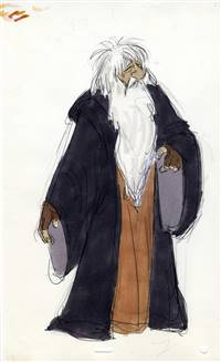 Original Model Drawing of Dallben from Black Cauldron (1985)