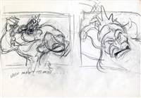 Original Production Story Drawing of King Triton from the Little Mermaid (1989)