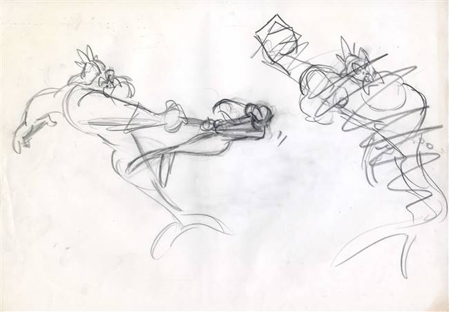 Original Production Story Drawing of Ariel and King Triton from the Little Mermaid (1989)