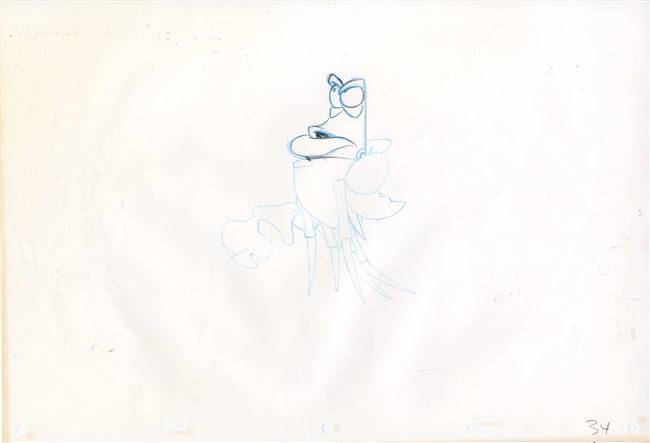 Original Production Drawing of Sebastian from the Little Mermaid (1989)