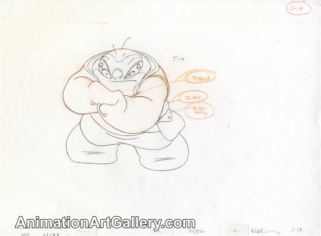 Production Drawing of Jumba Jookiba from Lilo & Stitch