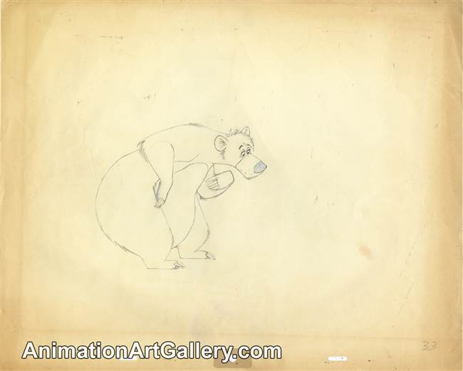 Production Drawing of Baloo from The Jungle Book