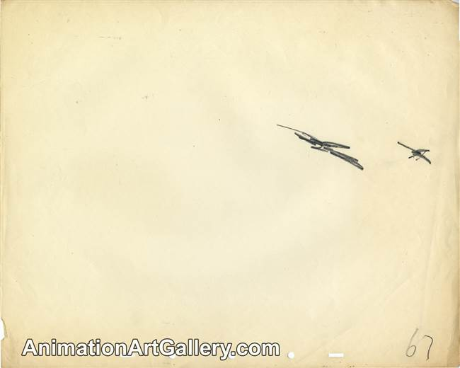 Production Drawing of some pterodactyls from Fantasia