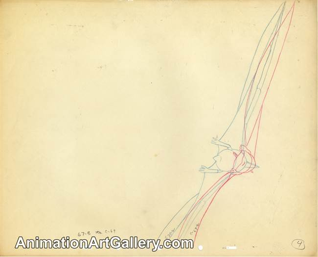 Production Drawing of a pterodactyl from Fantasia
