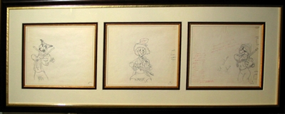 Production Drawing of the Marx Brothers from Mother Goose Goes Hollywood