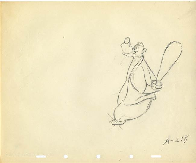 Original Production Drawing of Brer Bear from Song of the South