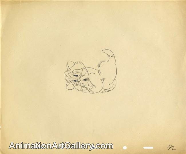 Original Production Drawing of Figaro from Disney