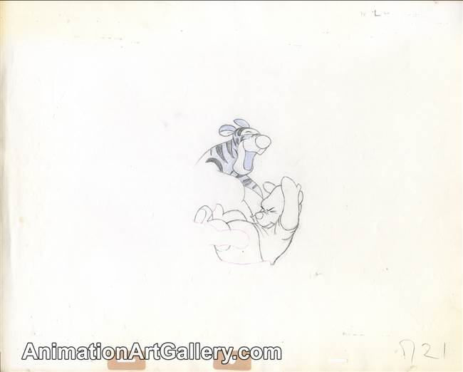 Production Drawing of Pooh and Tigger from Winnie the Pooh and Tigger Too