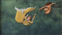 Original Master Background from Tarzan with a presentation cel of Tarzan and Jane Porter
