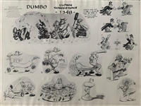Photostat of Dumbo and some clowns from Dumbo
