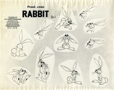 Photostat of a rabbit from Sleeping Beauty
