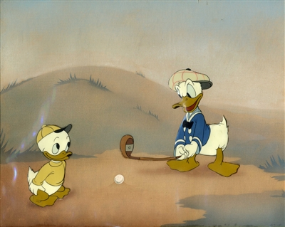 Original Courvoisier Cel of Donald and Nephew from Donald's Golf Game (1938)