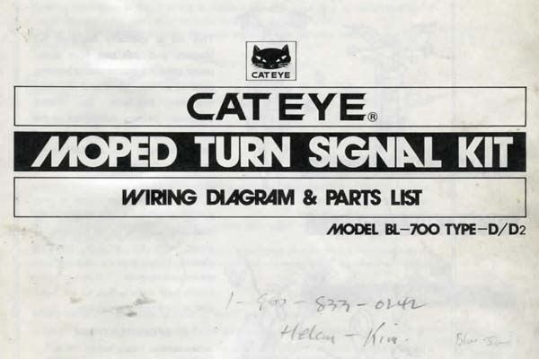 free cateye moped turn signal kit instruction manual Chevy Turn Signal Wiring Diagram