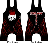 skull and flames wrestling or lifting singlet