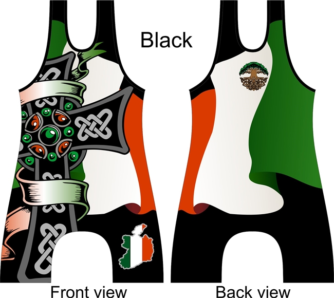 Irish flag and cross wrestling or lifting singlet