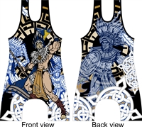 Aztec warrior wrestling and lifting singlet
