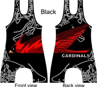 Sublimated cardinal mascot singlet in several colors