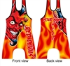 sublimated wrestling singlet with devil mascot