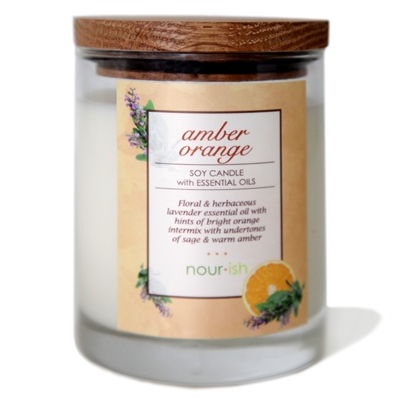 Amber Orange Glass Soy Candle