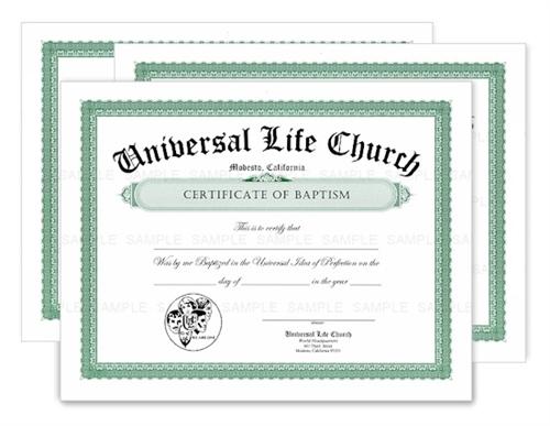 Baptism Certificate, 3 Pack | ULC Baptism Certificate -3 | Universal ...