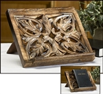 Hand Carved Wood Ritual Book Stand
