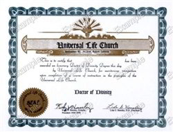 Universal Life Church Doctor of Divinity Degree
