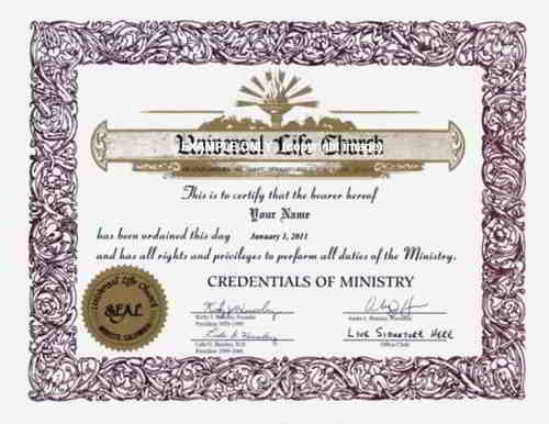Ordination Credential | Universal Life Church Credential | Universal ...