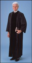 Pulpit Robe, Black with Velveteen Panels | Pulpit Robe with Velvet Panels