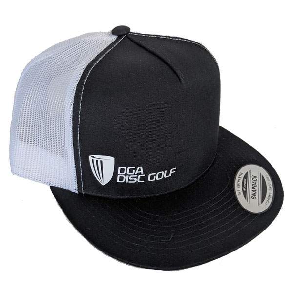 DGA Mesh Snapback Flat Bill Hat Small Logo (BLACK/WHITE)
