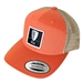 DGA Patch Mesh Snapback Flat Bill Hat (ORANGE & TAN)