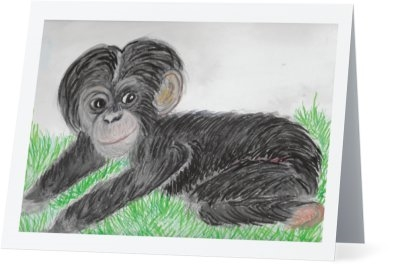 """ Baby Chimp"" Note Cards"