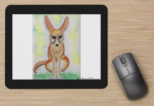 """Fennec Fox Sitting"" Mouse Pad"