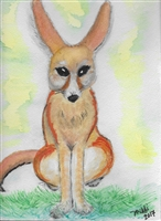 """Fennec Fox Sitting"" Zoo Print"