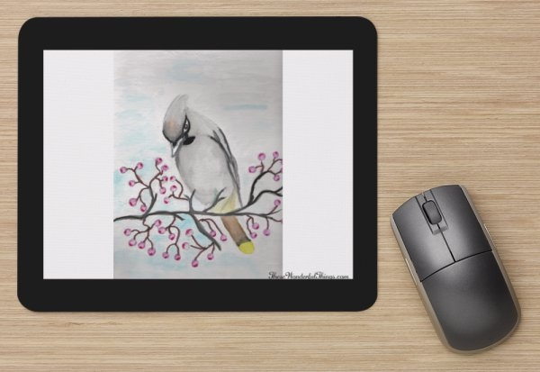 """Bohemian Waxwing"" Mouse Pad"