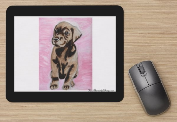 """Chocolate Lab Pup"" Mouse Pad"