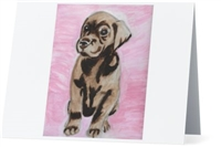 """Chocolate Lab Pup"" Note Cards"
