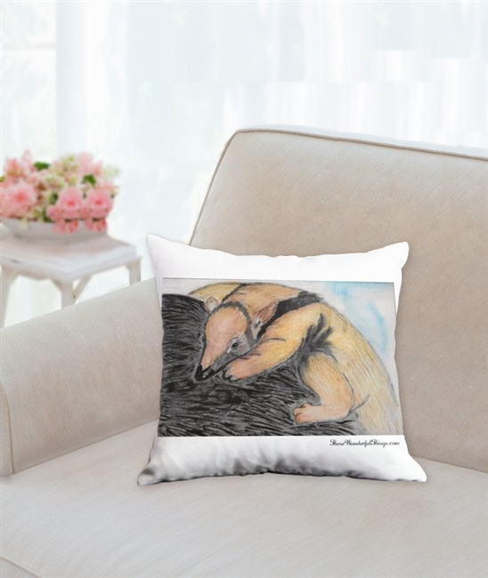 """Tamandua"" Throw Pillow"