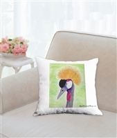 """Gray Crowned Crane "" Throw Pillow"
