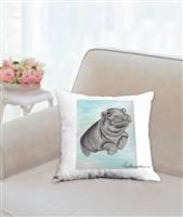 """Hippo"" Throw Pillow"
