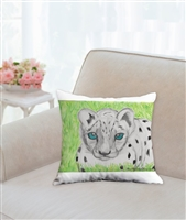 """Snow Leopard"" Throw Pillow"