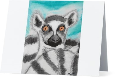 """Ring Tail Lemur #2"" Note Cards"