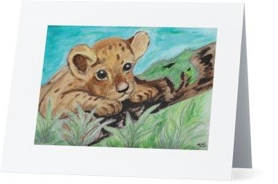 """Cub on Moss"" Note Cards"