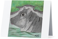 """Hippo #2"" Note Cards"