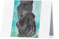 """Baby Gorilla"" Note Cards"