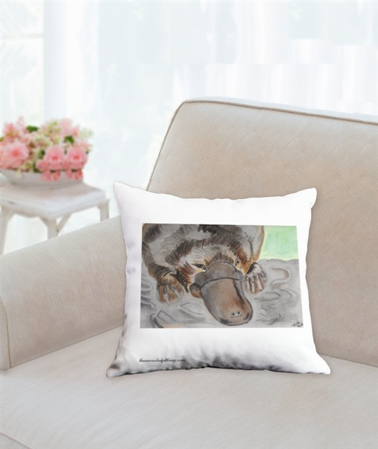 """Platypus #2"" Throw Pillow"