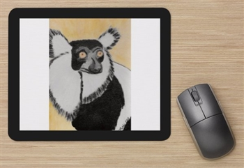 """Black & White Lemur #1"" Mouse Pad"
