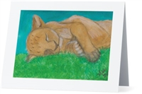 """Lion Sleep "" Note Cards"